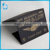 Black cardboard printing gold logo card with wave crease and Double side tape for rollingpaper