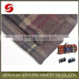 Portable 100% wool travel blanket, thermal checkered wool blanket, fashion and portable striped wool blanket