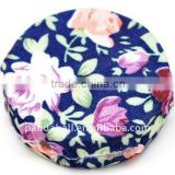 Woven Cloth Woven Beads, Acrylic with Cloth, Blue, Flat Round, 33x11mm, hole: 3mm.(WOVE-R002-16)