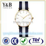 YB 2015 custom logo wirstwatch japan movt watches nato nylon leather strap watch