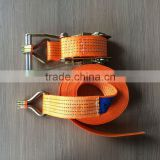 5T x 15M polyester ratchet strap with double J hook, 50mm woven polyester ratchet tie down strap for steel pipe