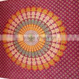 Indian Peacock Mandala Tapestry, Hippie Indian Tapestry, Bedspread, Peacock Feather Pattern Indian Tapestry - Beach Sheet - Hang