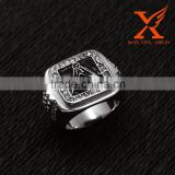 In Stock Stainless Steel Men Designer Finger Rings Boys Rings Fashion Large Metal Rings Masonic Rings