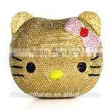 Hello kitty animal stone crystal evening clutch bags gold color clutch bags for wedding evening bags