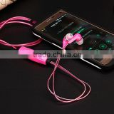 Wired LED Earphone Visible Flowing LED Flashing Light Glow Sport Stereo In ear Headphone Headset With Mic For Cellphone