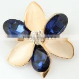 Beautiful Cream and Blue Colorful Crystal Brooches For Wedding Dress J033049F02