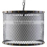 11.8-1 inner drum shade is white fabric an iron-tinted solid steel mesh shade with brass nail head accents Hanging Lamp