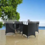 Customized Antique Black Outdoor Wicker Dining Furniture Sets