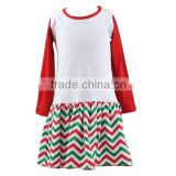 2016 Kaiyo children frocks designs children christmas dress chevron long sleeve dress new model girl dress