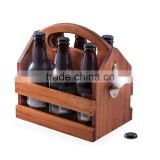 Wood Beverage Caddy with Bottle Opener wooden beer carrier