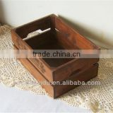 Zakka Vintage Indoor Wooden Plant Pot Trays With Logo Solid Wooden Storage Box Old Style Home Decoration 32 * 22 * 14 cm