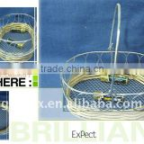 Egg shaped rattan wire favour gift basket with metal handle