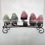 Decoration Pine Cone wrought iron candle holder