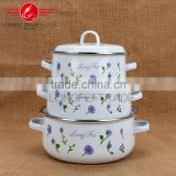cheap and good quality hot sale 3pcs enamel coated cast iron cookware with enamel lid