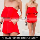 Newest design red sexy ladies off-shoulder two piece night suits
