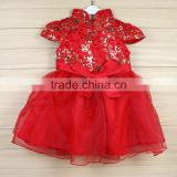 2016 Chinese flower pattern new year chiffon party flower baby girls dress for 2-8years girl