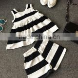 Vintage Baby Clothing Set Black And White Stripes Outfit Bow Tie Apparel