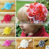 2014hot sale chiffon silk flower baby headband princess big flower girls hair wear band elastic shabby infants baby accessories