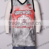 Cool style sublimation basketball jerseys fashion basketball shirt white and blue color basketball jersey for men