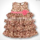 2016 Baby Girl Leopard Layered Dress With Pink Flower Bow Kids Wear Size:80 90 100 GD40218-28