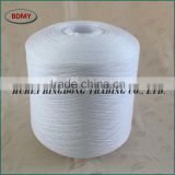22S/2 virgin 100 percent polyester spun yarn semi-dull or bright fiber, optical white, factory