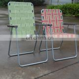 2018 factory direct sell suitable garden lawn folding Aluminum Web Chair with logo printed chair