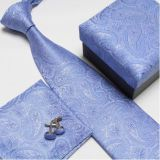 Paisley Silver Mens Silk Necktie Extra Long Silky Finish