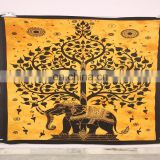 Indian elephant tree printed wall hanging boho bedspread hippie cotton tapestry