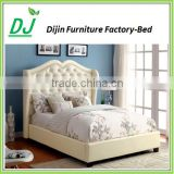 Luxury French Style Bedroom Furniture Button Tufted Upholstered King Size Bed