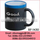 Wholesale 11oz Colored Ceramic Mugs and Cups with Chalk for Promotion Milk Mug