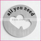 wholesale custom 22mm round stainless steel hollowed-out double heart locket charms plate