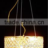 modern 3-light pendant lights with crystal drops in square/led square crystal pendant light