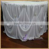 TC106A new table skirting designs white chiffon gathered with decorative buckles Cinderella table skirt                                                                         Quality Choice