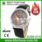 ZUSK01G Classic fashion style skeleton 316L stainless steel 3 atm Automatic movtu luxury watch