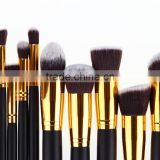 Hot Selling 10pcs Soft Hair Golden+Black Handle Foundation Powder Eyeshadow Brush Kit Makeup Brush Set