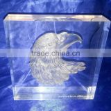 3D laser carving eagle's heart acrylic art block display animal style thick paperweight