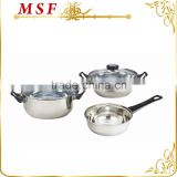 MSF-3020-Black 5pcs stainless steel cookware set 16cm saucepan 18cm & 20cm saucepot for promotion