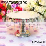 Transparent mirror face cake stand wedding;wedding cake stand with acrylic crystal hanging beads(MH6280)