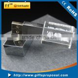 Crystal USB disk flash drive with blue led laser light up logo