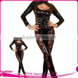 Popular Long Sleeved Cut Out Leather Catsuit Jumpsuits