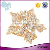 Cheap wholesale double layer zinc alloy rhinestone full jewelled scarf clip brooch