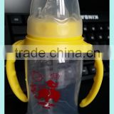 Economic and durable standard neck baby drinking bottle with straw