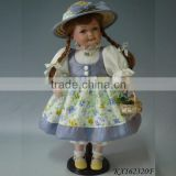 Porcelain doll for collection lifelike baby dolls standing country girl doll gift for kids