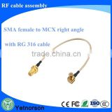 OEM Manufacturing SMA Male to Female RF Coax Wire RF Connecter for RG58/174 Coaxial Cable