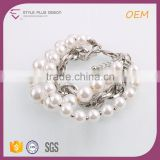 G66596K02 STYLE PLUS silver plate pearl design bracelet thick alloy chain imitation pearl bracelet for young girls