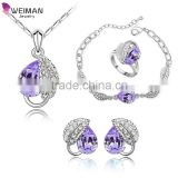 Fashion Austrian Crystal Platinum Plated Bridal Wedding Heart Leaf Jewelry Sets