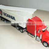 1:64 die cast container truck with open top trailer,die cast truck model,toy truck model