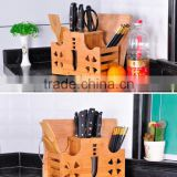 Bamboo Kitchen Knife Storage Block 100% bamboo multifunction knife Holder with cutting board holder Premium Quality