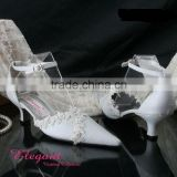 Lace and leather hot sell elegant wedding shose high quality WS-062