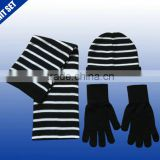black and white striped design knitted hat scarf glove knit winter set